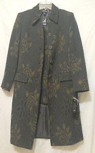 Kasper The Algonquin Moss Multi Green Floral Wool Blend Skirt Suit Long Jacket 6