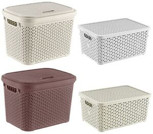 Small Large Rattan Plastic Storage Box Lid Basket Container Kitchen Home Office