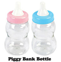 BIG LARGE JUMBO Fillable Bottle Baby Shower Favors Decor Blue Pink Bank Girl