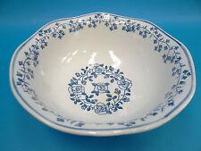 Vintage Used Underglaze Salt Floral Blue White Porcelain Fruit Bowl Kitchen Old