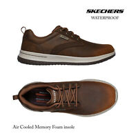 Skechers Mens Delson-Antigo Leather Waterproof Lace Up Memory Foam Trainer Shoes