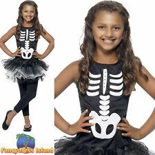 Skeleton Tutu Black White Haloween Childs Kids Girls Fancy Dress Costume