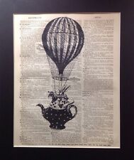 Antique  Dictionary Book Page Art Alice in Wonderland White Rabbit teapot