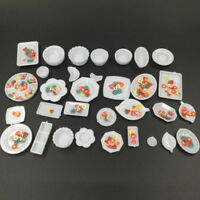 Dollhouse Miniature Kitchen Utensils 32 Tableware dish set & Fruit Slices toy