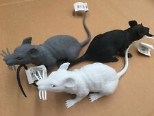 2 Squeaky Plastic Mouse Rat Figurine Black & Grey or White Head to Tail 32cm TOY