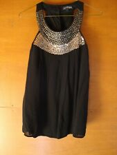 Next Black With Sequined Neckline Sleeveless Top Size 12