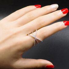 18k White Gold Platinum Ring made w Swarovski Crystal Pave Stone Index Ring