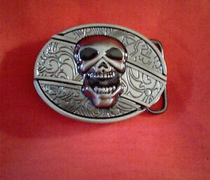 Skull Trucker Biker Bull Western Belt Buckle Longhorn Belt Buckle 413 Go