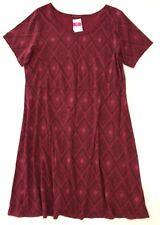 FRESH PRODUCE 1X Burgundy DIAMONDS SADIE Cotton Jersey Dress NWT New 1X