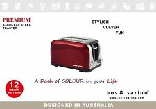 2 Bread Thick Slice Premium Stainless Steel RED Crumpet Toaster Beautiful Style