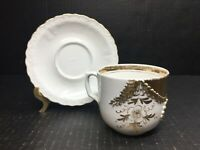 Antique Tea Cup & Saucer White Gold Leaf Embossed Trimmed Ornate