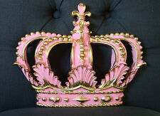 NEW **HOT PINK/ GOLD CROWN Wall Plaque Decor Nursery Crib BED BOHO PRINCESS