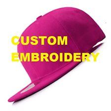 Create Your Custom Personalised Embroidery Pink FLAT Brim SNAPBACK Cap Hat