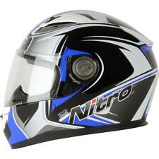 NITRO N2100 Cypher Negro Blanco Azul Accidente Motocicleta Cara Completa Casco Tamaño L XXL
