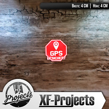 Aufkleber : GPS Gesichert | 4x4cm | Achtung Warnung Aufkleber / Sticker