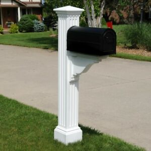Mail Post Polyethylene Vinyl Fluted Decorative Fade Resistant in White Finish