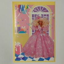 vtg 1992 Barbie doll birthday greeting card glitter pink sparkle party dress 90s