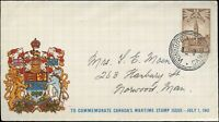 Canada 1942 COMMEMORATIVE WARTIME Cover WINNIPEG to NORWOOD, MAN, with SCTT #247