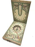 Antique 18 th Century European Diptich Compass Cadran Solaire & Boussole  XVIII