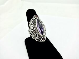 SARDA LARGE CHUNKY PIERCED STERLING SILVER AMETHYST PINK TOPAZ COCKTAIL RING,9