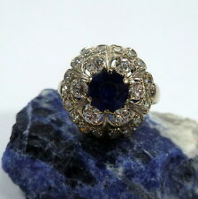 Toller Ring in 585/14k 51 (16,2 mm Ø) Gold Weißgold Saphir 24 Brillanten 0,84ct