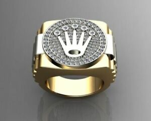 2 Ct White Round Cut CZ Two-Tone Gold Over Pave Engagement Pinky Mens Crown Ring