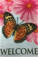 "Butterfly & Flowers Welcome House Flag 28""X40"" Spring Decorative House Flag"
