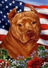 Patriotic (1) House Flag - Orange American Pit Bull Terrier 16406