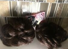 """2 Ponytail Extension 3"""" brown Scrunchie Synthetic Hair Wrap Elastic+accessories"""