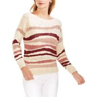 MSRP $99 Women's Vince Camuto Variegated Stripe Sweater, Beige Size LARGE