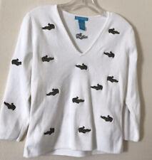 alexandra bartlett white alligator patch 3/4 sleeve womens top sweater size M