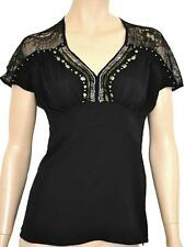 ROCKMANS SZ 8 WOMENS Black Lace & Beaded Short Sleeve Blouse Top RRP$69.99