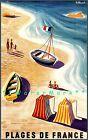 Beaches Of France 1955 Plages De France Vintage Travel Poster Print Villemot Art