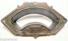 vintage SILVERTONE CONSOLE SUPER-HET RADIO:  BRASS DIAL FACEPLATE  5 & 1/4 x 3""