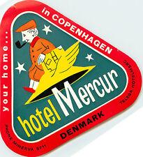 Hote Mercur ~COPENHAGEN DENMARK~ Unique Old Luggage Label