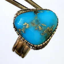 Exquisite Blue Turquoise Vintage Navajo Womens Ring Sterling Size 9.25
