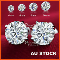 18K WHITE GOLD GF CT SIGNITIY DIAMOND SOLID MENS LADIES KIDS ROUND STUD EARRINGS