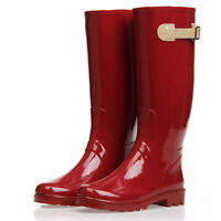 New Fashion Rubber Pull On Tall Rain Boots Red Wellies Boots Women Flat Shoes e7