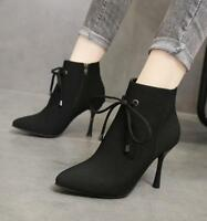 High Heels Pointed Toe Ankle Boots Lace Up Zipper Side Stilettos Shoes Yoooc