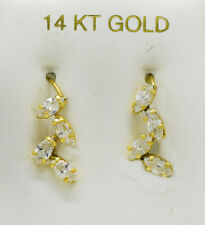 WHITE SAPPHIRE 1.74 Cts DANGLING EARRINGS 14k GOLD * New With Tag * Made in USA
