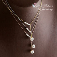 18K White, Rose & Yellow Gold Plated Simulated Pearl Delicate Lariat Necklace