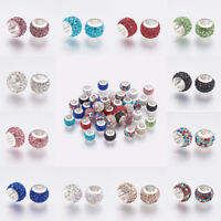10 pcs 304 Stainless Steel European Beads with Polymer Clay Rhinestone 11x7.5mm