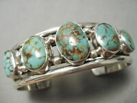THICKER AND HEAVY VINTAGE NAVAJO ROYSTON TURQUOISE STERLING SILVER BRACELET