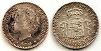 SPAIN-Alfonso XIII. 50 centimos 1894*9-4. Madrid. MBC+/VF+. Plata 2,5 g.
