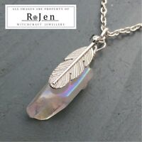 Silver Plated Opal Angel Aura Point Feather Pendant CHAKRA Reiki Wicca Pagan