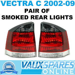 VECTRA C PAIR OF SMOKED REAR LIGHTS BACK LENS CLUSTERS DRIVERS & PASSENGERS SRI