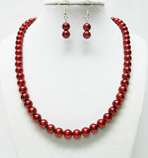 8mm Red Glass Pearl Necklace and Earrings