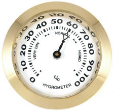 Brass Analog Hygrometer Cigar Humidity Gauge with Glass Lens for Humidors - 8104
