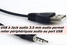 connecteur câblé adaptateur USB jack mâle audio 3.5 mm et USB universelle mâle