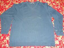 Cutter & Buck Men's V Neck Blue Size XXL Sweater 100% Cotton Long Sleeve EUC 2XL